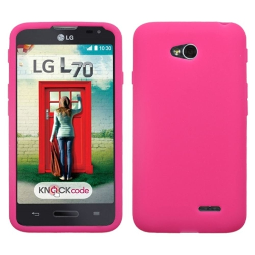 Insten Silicone Rubber Case For LG Optimus Exceed 2 VS450PP Verizon/Optimus L70 - Hot Pink