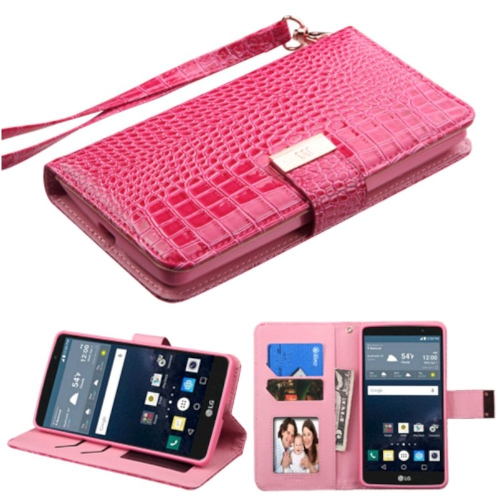 Insten Leather Crocodile Skin Case Lanyard w/stand/card holder For LG G Stylo LS770, Hot Pink