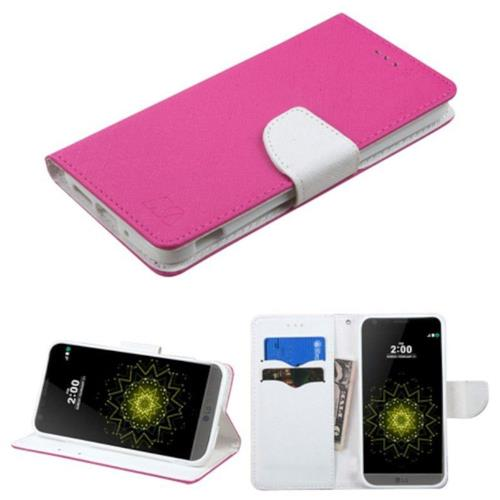Insten Folio Leather Fabric Cover Case w/stand/card holder For LG G5 - Hot Pink/White
