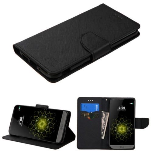 Insten Folio Leather Fabric Case w/stand/card slot For LG G5 - Black