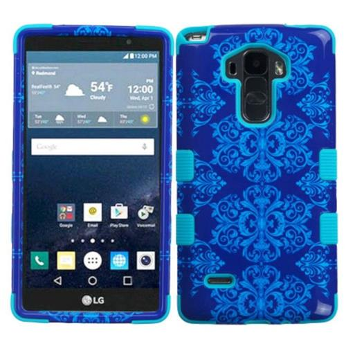 Insten Damask Hard Dual Layer Rubber Coated Silicone Cover Case For LG G Stylo LS770/G Vista 2, Blue