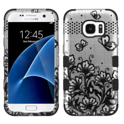 Insten Tuff Lace Flowers Hard Dual Layer Rubberized Silicone Case For Samsung Galaxy S7 - Black