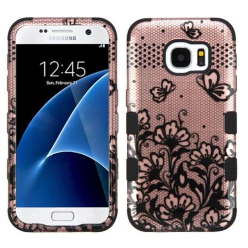 Insten Lace Flowers Hard Hybrid Rubber Coated Silicone Case For Samsung Galaxy S7, Rose Gold/Black