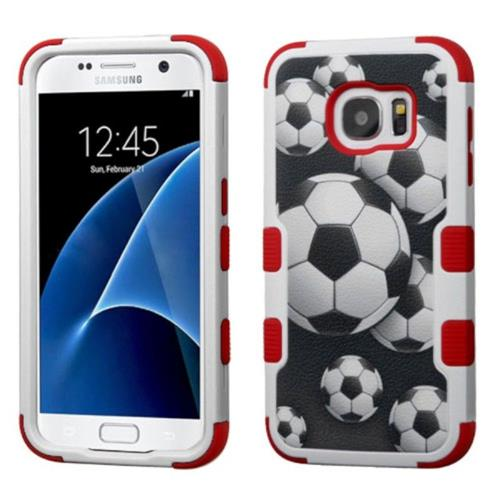 Insten Soccer Ball Collage Hard Dual Layer Rubberized Silicone Case For Samsung Galaxy S7, Black/Red