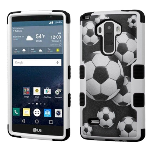 Insten Soccer Ball Collage Hybrid Rubber Silicone Case For LG G Stylo LS770/G Vista 2, Black/White