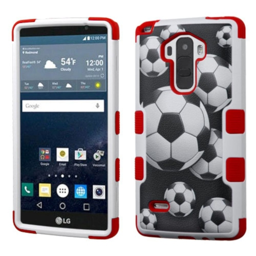 Insten Soccer Ball Collage Hard Rubber Silicone Cover Case For LG G Stylo LS770/G Vista 2, Black/Red