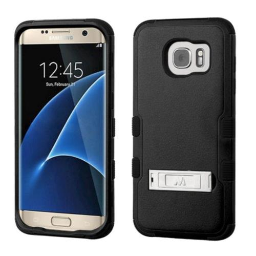 Insten Hard Hybrid Rubber Silicone Cover Case w/stand For Samsung Galaxy S7 Edge - Black