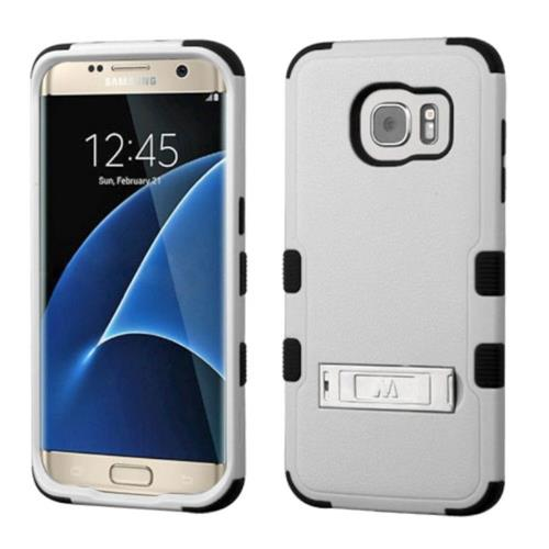 Insten Hard Rubber Coated Silicone Cover Case w/stand For Samsung Galaxy S7 Edge, Gray/Black