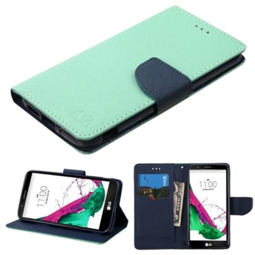 Insten Folio Leather Fabric Cover Case w/stand/card holder For LG G5 - Green/Blue