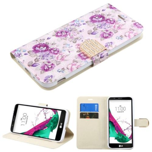 Insten Flowers Flip Leather Fabric Case w/stand/card slot/Diamond For LG G5 - Purple/White