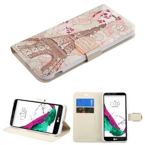 Insten Eiffel Tower Folio Leather Fabric Case w/stand/card slot/Diamond For LG G5 - Pink/White