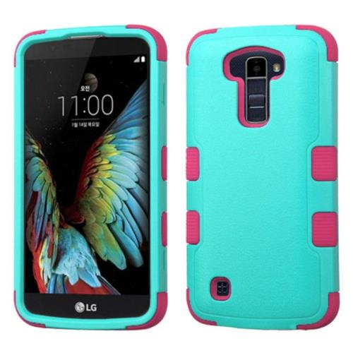 Insten Tuff Hard Dual Layer Silicone Cover Case For LG K10 (2016) - Teal/Pink
