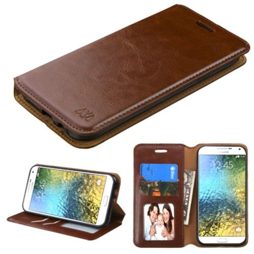 Insten Leather Fabric Case w/stand/card holder/Photo Display/Diamond For Samsung Galaxy E5, Brown