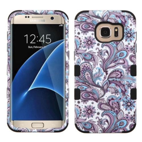 Insten Tuff European Flowers Hard Hybrid Silicone Case For Samsung Galaxy S7 Edge - Purple/White
