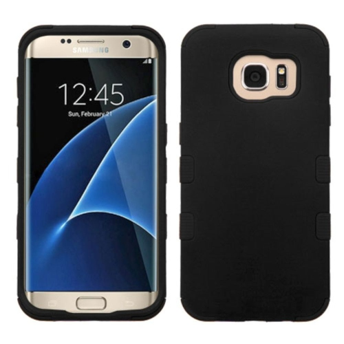Insten Tuff Hard Dual Layer Silicone Case For Samsung Galaxy S7 Edge - Black