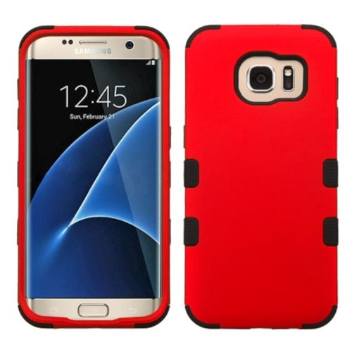 Insten Tuff Hard Dual Layer Rubber Coated Silicone Case For Samsung Galaxy S7 Edge - Red/Black