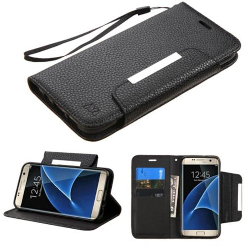 Insten Book-Style Leather Fabric Case Lanyard w/stand/card holder For Samsung Galaxy S7 Edge - Black