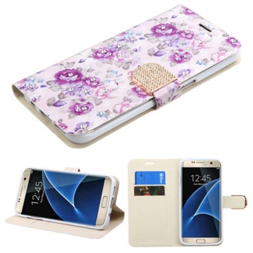 Insten Flowers Flip Case w/stand/card slot/Diamond For Samsung Galaxy S7 Edge, Purple/White