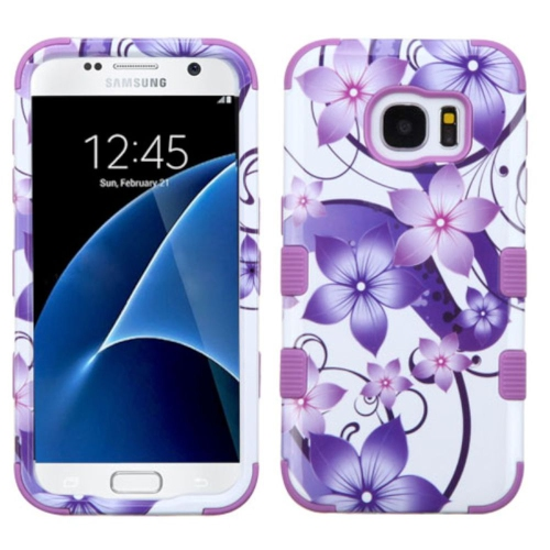 Insten Hibiscus Flower Romance Hard Silicone Cover Case For Samsung Galaxy S7, Purple/White