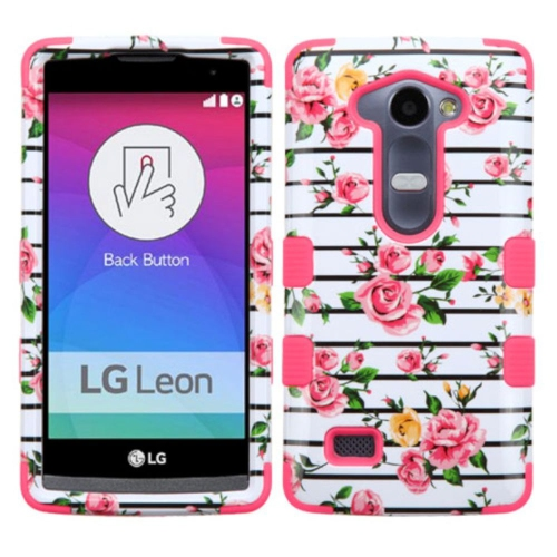 Insten Tuff Fresh Roses Hard Dual Layer Silicone Cover Case For LG Leon/Risio/Tribute 2 - Pink/White