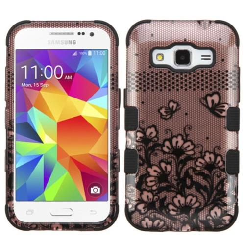 Insten Tuff Lace Flowers Hard Hybrid Silicone Case For Samsung Galaxy Core Prime - Rose Gold/Black