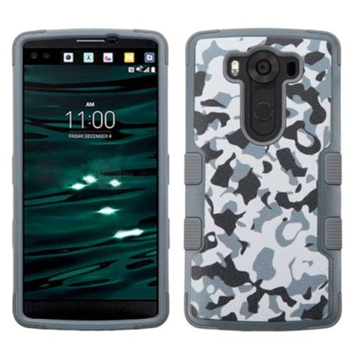 Insten Tuff Camouflage Hard Dual Layer Rubber Coated Silicone Case For LG V10 - Gray/Black