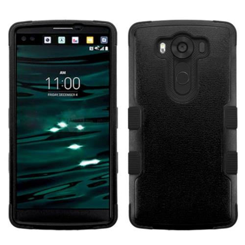 Insten Tuff Hard Hybrid Rubberized Silicone Case For LG V10 - Black