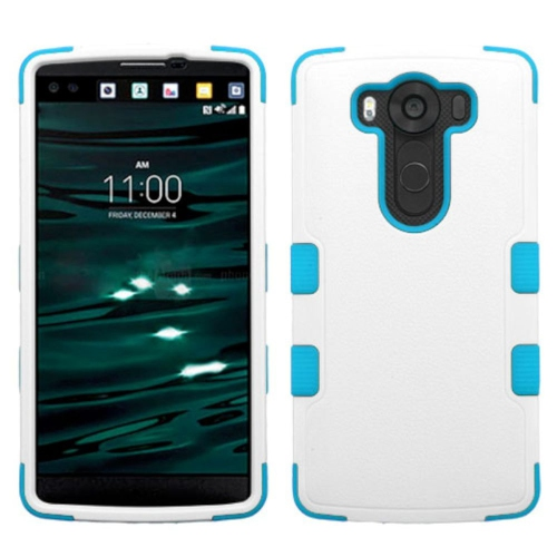 Insten Tuff Hard Hybrid Rubber Coated Silicone Cover Case For LG V10 - White/Blue