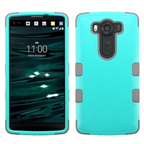Insten Tuff Hard Hybrid Rubber Silicone Case For LG V10 - Teal/Gray