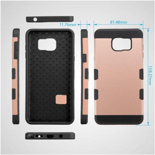 Insten Hard TPU Cover Case For Samsung Galaxy Note 5 - Rose Gold/Black