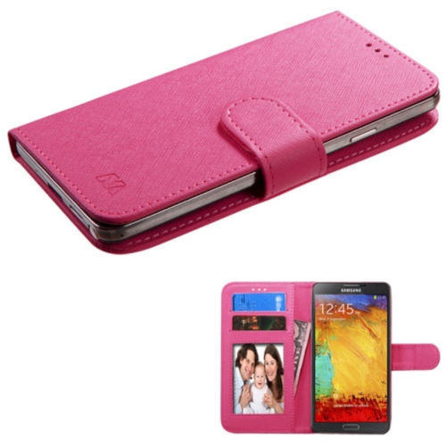 Insten Hot Pink Wallet Flip Leather Stand Case Cover For Samsung Galaxy S5/S5 Sport