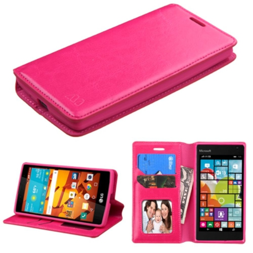 Insten Flip Leather Fabric Case w/stand/card holder/Photo Display For LG Magna/Volt 2, Hot Pink