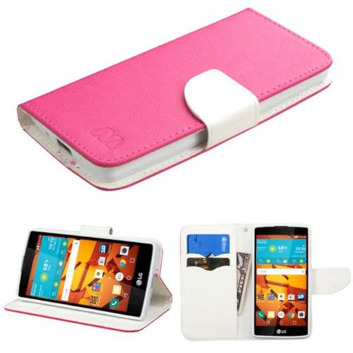 Insten Book-Style Leather Fabric Cover Case w/stand/card slot For LG Magna/Volt 2 - Hot Pink/White
