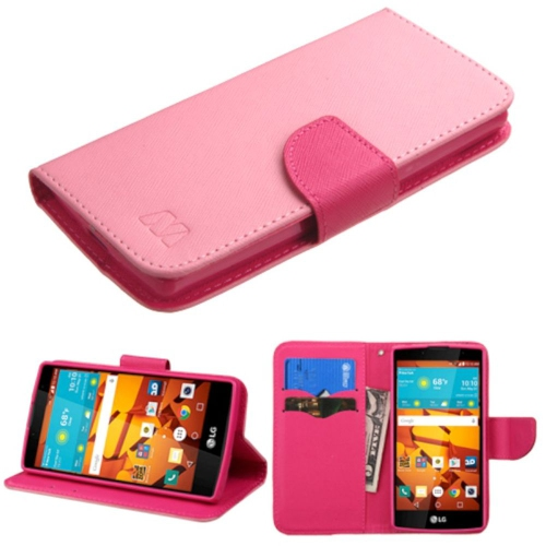 Insten Folio Leather Fabric Cover Case w/stand/card holder For LG Magna/Volt 2 - Pink/Hot Pink