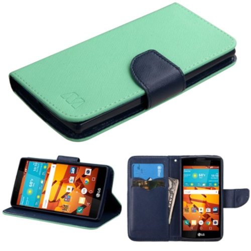 Insten Folio Leather Fabric Case w/stand/card holder For LG Magna/Volt 2 - Teal/Black