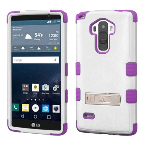 Insten Hard Hybrid Rubberized Silicone Cover Case w/stand For LG G Stylo LS770 - White/Purple