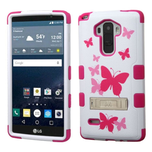 Insten Butterfly Dancing Hard Hybrid Silicone Cover Case w/stand For LG G Stylo LS770, Pink/White