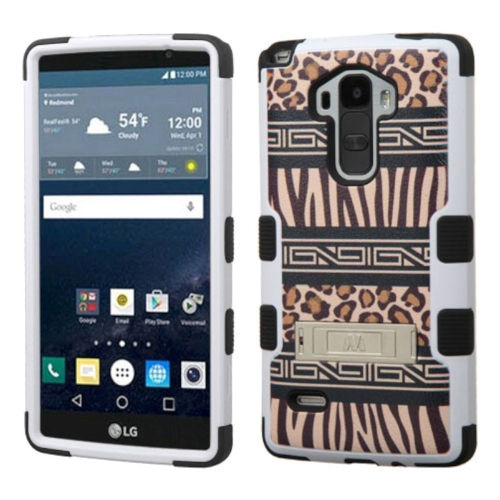 Insten Zebra Hard Dual Layer Rubber Silicone Cover Case w/stand For LG G Stylo LS770, Brown/Black