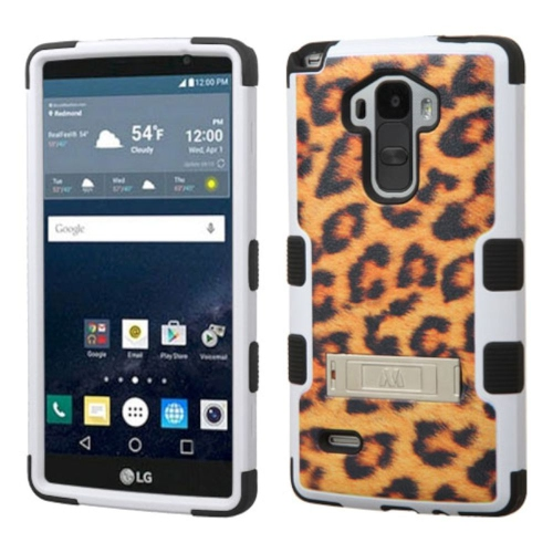 Insten Tuff Leopard Hard Dual Layer Silicone Case w/stand For LG G Stylo LS770 - Brown/Black