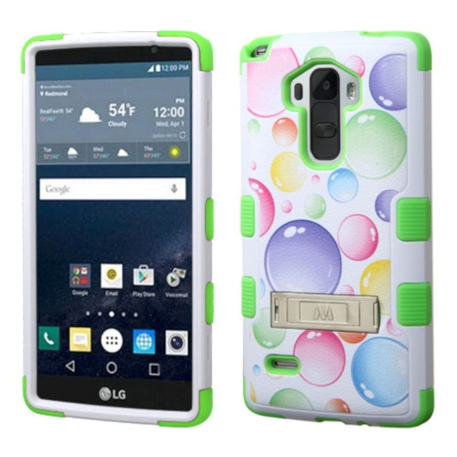 Insten Rainbow Bubbles Hard Rubber Silicone Case w/stand For LG G Stylo LS770, Green/White