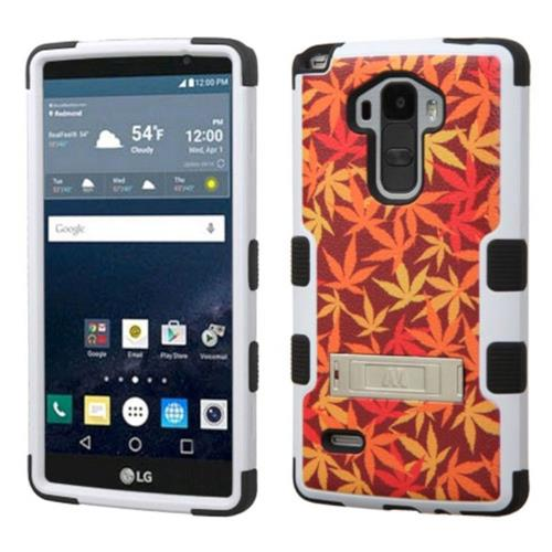 Insten Japanese Maple Leaves Hard Rubber Coated Case w/stand For LG G Stylo LS770, Orange/Black