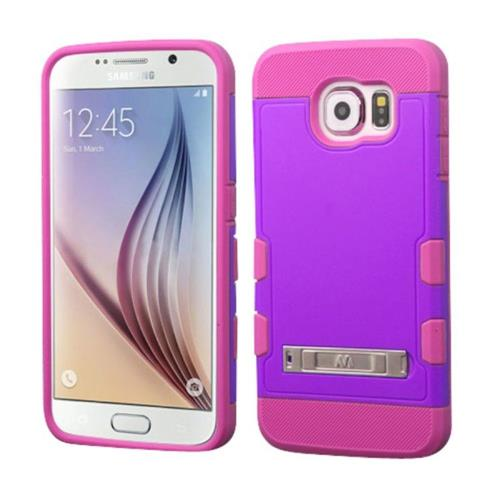 Insten Hard Rubberized Silicone Case w/stand For Samsung Galaxy S6 - Purple/Hot Pink