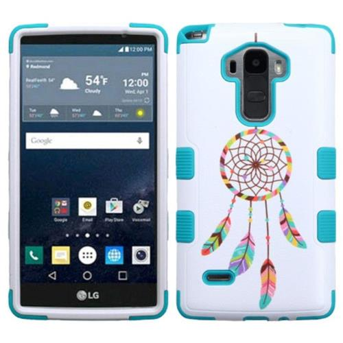 Insten Pastel Dreamcatcher Hard Hybrid Rubber Coated Silicone Case For LG G Stylo LS770 - Blue/White
