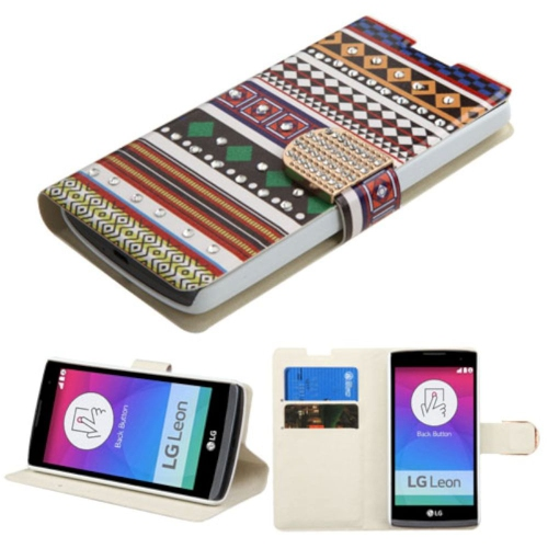 Insten Ethnic Customs Folio Leather Fabric Case w/stand/card slot/Diamond For LG Leon, Colorful