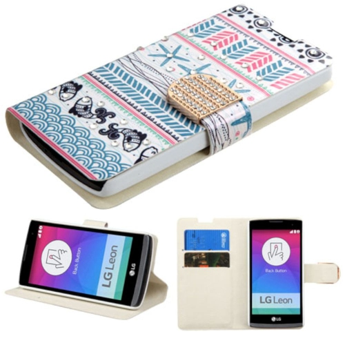 Insten Jumping Fishes Folio Case w/stand/card holder/Diamond For LG Leon/Tribute 2, Blue/Pink