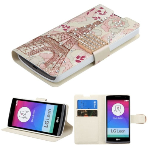Insten Eiffel Tower Leather Fabric Case w/stand/card slot/Diamond For LG Leon/Tribute 2, Gold/White