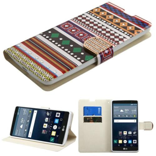 Insten Ethnic Customs Folio Case w/stand/card slot/Diamond For LG G Stylo LS770, Colorful