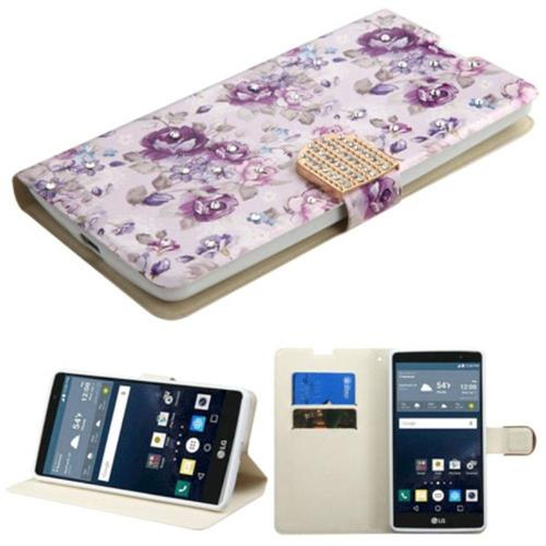 Insten Flowers Flip Leather Fabric Case w/stand/card slot/Diamond For LG G Stylo LS770, Purple/White
