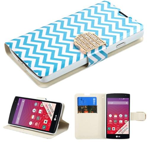 Insten Flip Leather Fabric Cover Case w/stand/card holder/Diamond For LG Optimus F60 - Blue/White