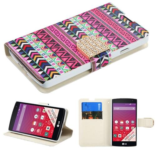 Insten Folio Leather Fabric Cover Case w/stand/card slot/Diamond For LG Optimus F60 - Red/Gold